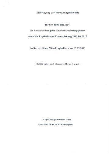 Die Etatrede zum Haushaltsplanentwurf 2014 - Stadt ...
