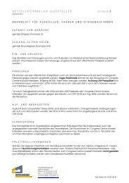 Bestellformulare Aussteller - Congress Centre Kursaal Interlaken