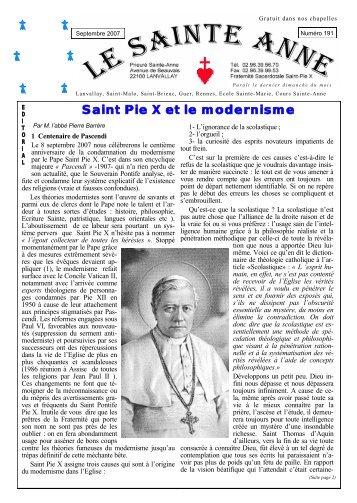 Saint Pie X et le modernisme - La Porte Latine