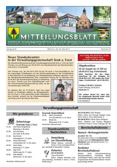 Ausgabe Nr 22 Vom 30 05 2012 Gemeinde Ahorn