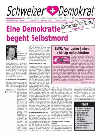 Eine Demokratie begeht Selbstmord - Schweizer Demokraten SD