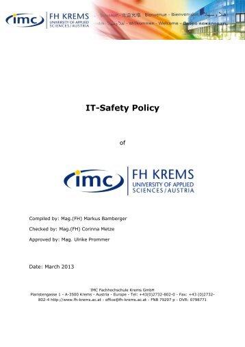 IT-Safety Policy - IMC Fachhochschule Krems GmbH