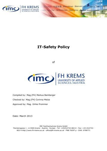 IT-Safety Policy - IMC Fachhochschule Krems GmbH