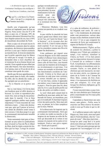 """Lettre n° 01 de """"Missions"""" - La Porte Latine"""