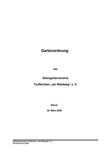 Gartenordnung - Kleingartenverein Taufkirchen