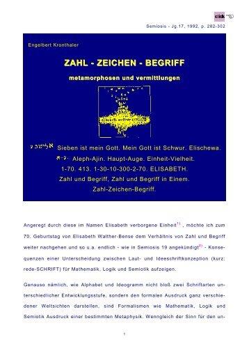 ZAHL - ZEICHEN - BEGRIFF