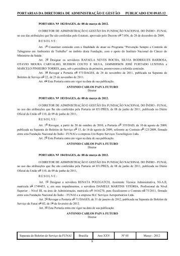 Portaria nº 0849/PRES, de 07 de outubro de 1996 - Funai