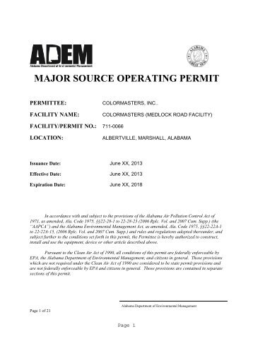 draft permit - Alabama Department of Environmental Management