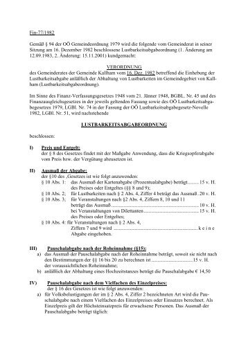 Lustbarkeitsabgabenordnung - .PDF - Kallham