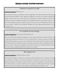 Quelques exemples d'activités orientantes