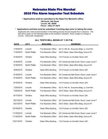 Nebraska State Fire Marshal 2010 Fire Alarm Inspector Test Schedule