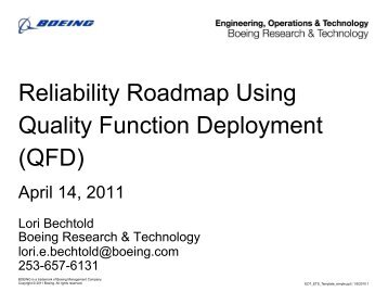 Reliability Roadmap Using Quality Function Deployment (QFD)