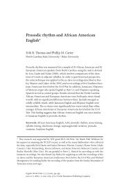 Prosodic rhythm and African American English - North Carolina ...