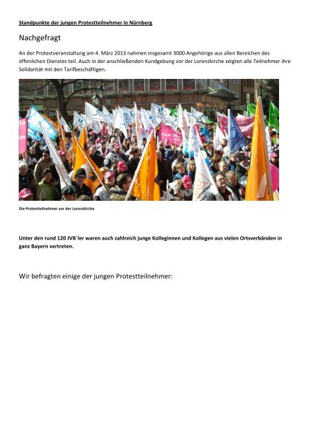 Standpunkte der jungen Protestteilnehmer in Nürnberg – Nachgefragt
