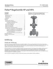 Fisherr Regelventile HP und HPA - Emerson Process Management