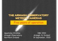 Apostolos Christou: The Armagh Observatory Meteor Cameras