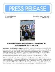 RJ Valentine Signs with 2005 Rolex Champions TRG to run Pontiac ...
