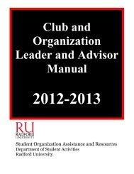 Club and Organization Manual (PDF) - Radford University