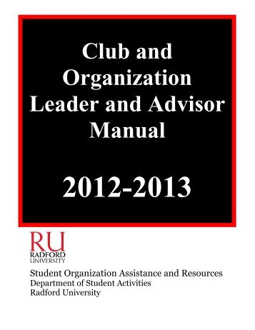 Club and Organization Manual (PDF) - Radford University