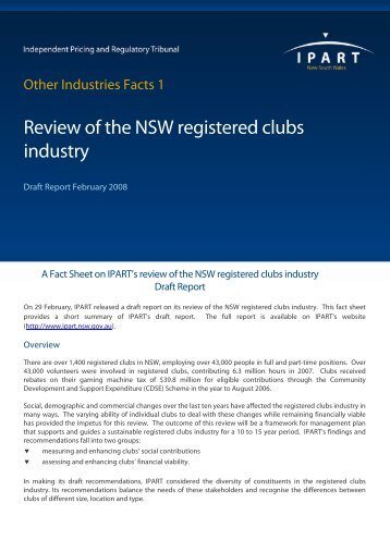 Fact Sheet - Review of the NSW Registered Clubs Industry