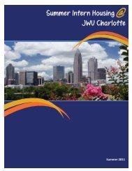JWU Charlotte Residential Life Summer Intern Housing Guide