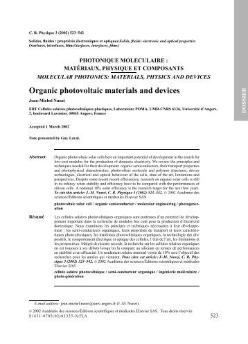 Organic photovoltaic materials and devices