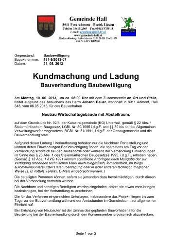Bauverhandlung --> Johann Bauer - Gemeinde Hall