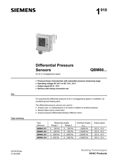 1910 Differential Pressure Sensors QBM66