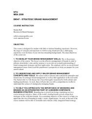 ntu mba 2009 b8947 - strategic brand management - Nanyang ...