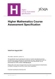 Higher Mathematics Course Assessment Specification - Scottish ...