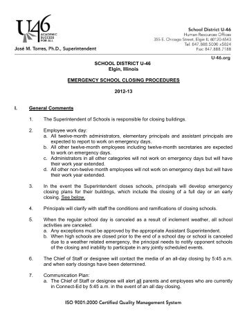 Emergency Closing Procedures 2012-13 - School District U-46