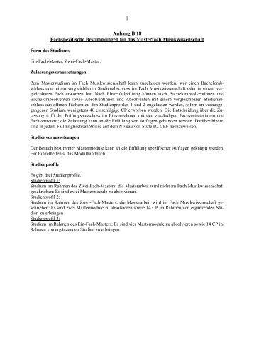 Anhang B18 Fachspezifische Bestimmungen für das Masterfach ...