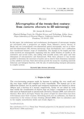 Micrographia of the twenty-first century - Professor Ahmed Zewail ...