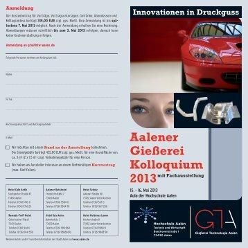 Aalener Gießerei Kolloquium 2013 - Hochschule Aalen