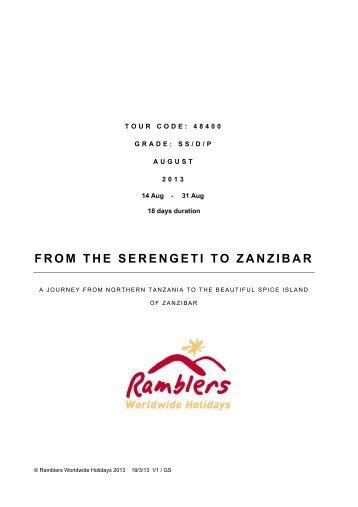 FROM THE SERENGETI TO ZANZIBAR - Walking Holidays