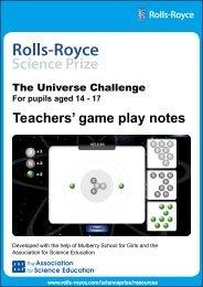 Teachers' game play notes - Rolls-Royce