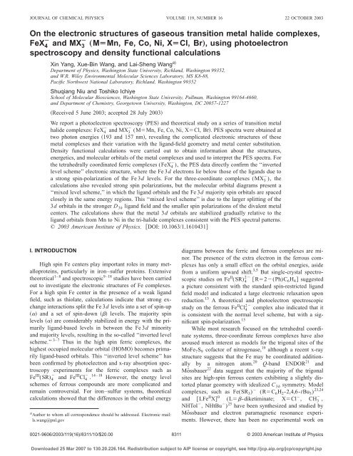 On the electronic structures of gaseous transition metal halide ...