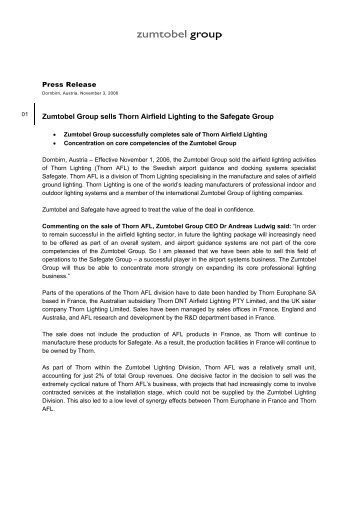 Zumtobel Group sells Thorn Airfield Lighting to the Safegate Group