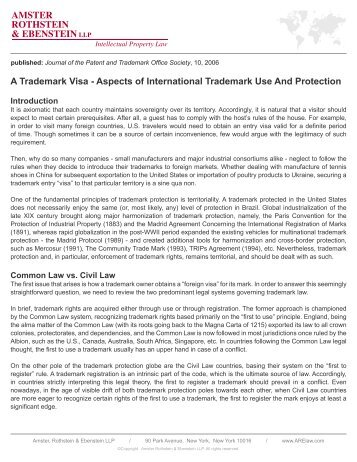Aspects of International Trademark Use And Protection - Amster ...