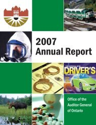 2007 Annual Report of the Office of the Auditor General of Ontario