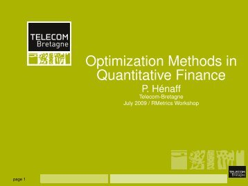 Optimization Methods in Quantitative Finance - Rmetrics