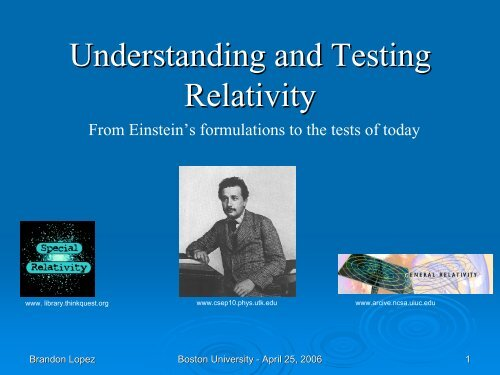 Testing Relativity - Boston University Physics Department.