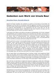 Gedanken zum Werk von Ursula Baur