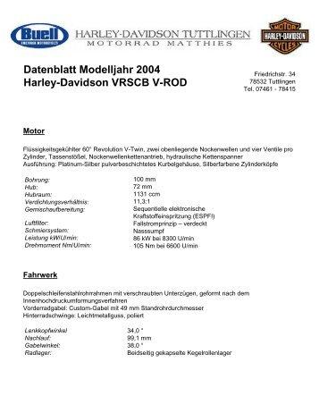 Harley Davidson V Rod  Technische Daten