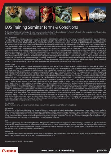 EOS Training Seminar Terms & Conditions - Jessops