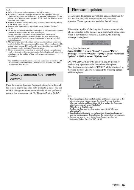 Owner's Manual Blu-ray DiscTM Player - Panasonic