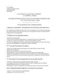 La contractualisation interne à l'hôpital public - Santé Maghreb