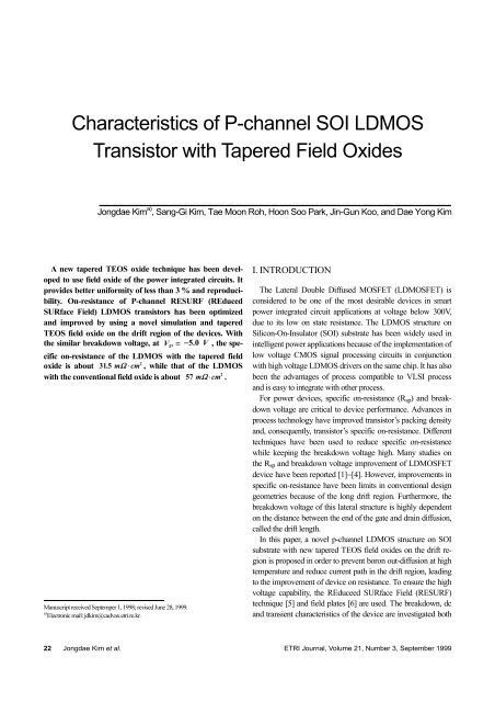 Characteristics of P-channel SOI LDMOS Transistor     - ETRI Journal