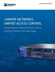 Juniper Networks Unified Access Control - Westcon Security
