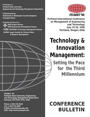 Technology & Innovation Management: - PICMET Conference